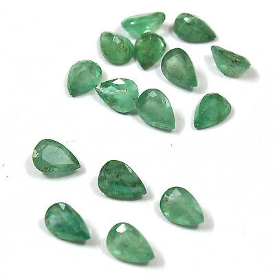 Green Natural Brazilian Emerald 5x7 mm Faceted Pears 1 pcs loose gemstone