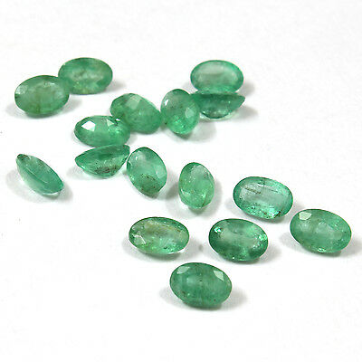 Green Natural Brazilian Emerald 4x6 mm Faceted Oval 2 pcs loose gemstone