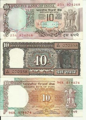 Extremely Rare India old currency 3 Different 10 Rupees Notes UNC 10 Rs NOTE