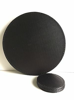 * NEW MODERN SET 4 ROUND FAUX LEATHER black placemats & coasters set dining