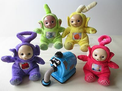 Set of 4 Soft Teletubbies and Friction Noo Noo Baby Toddler Toys