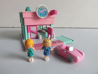 Vintage Polly Pocket Burger Drive Thru & Figures , Car  Play Set Blue Bird