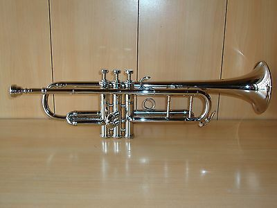 Bb FLAT TRUMPET BRAND NEW SILVER FREE HARD CASE+MOUTHPIECE+FAST SHIP
