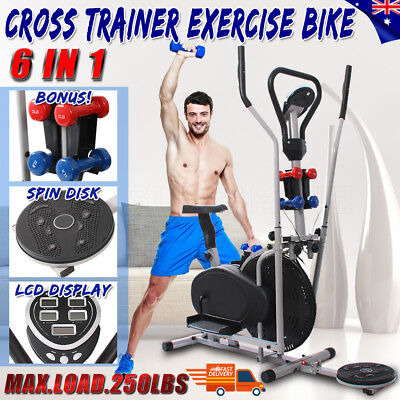 6 In1 Elliptical Cross Trainer Exercise Bike Machine Gym Home Bicycle Equipment