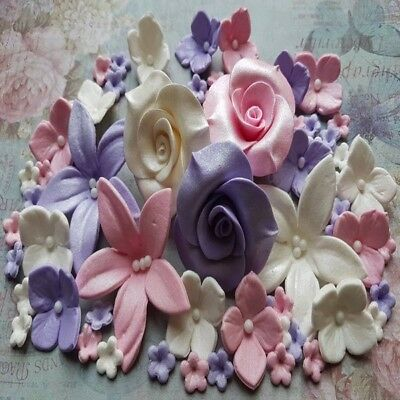 78 Edible Sugar Flowers Roses Cake Cupcake Toppers Decorations Pink/violet/white
