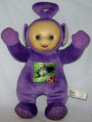 Teletubbies Tinky Winky Talking Plush Doll w Bunny Rabbit Chest Hologram 2003