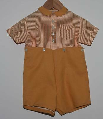 VINTAGE 1950s BABY TODDLER BOY YELLOW SHORTS AND STRIPED SHIRT SUIT (4665)