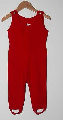 VINTAGE 1950s  TODDLER RED DUNGAREES CRIMPLENE AGE 2 ??(4644)