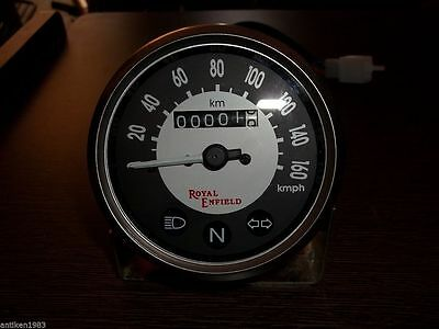 Royal Enfield Motorcycle Speedometer 0-160 KPH Black / White Face - New