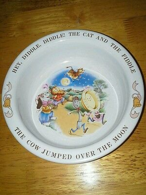 """AVON 1984 """"Hey Diddle Diddle"""" Child's Vintage Bowl Mother Goose Nursery Rhyme"""