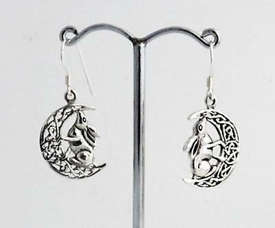 Silver Moon Gazing Hare Earrings Lisa Parker Sterling .925 Licensed Product gift
