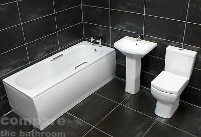 Easy Access Bathroom Suite Bath With Grips + Comfort Height Tall Toilet + Basin