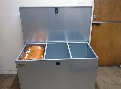 Large 3 compartment feed bin will fit whole bags in each compartment