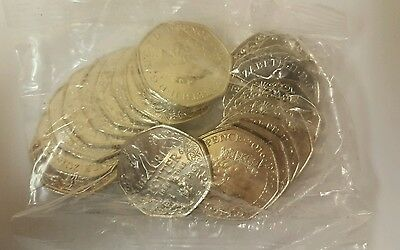 Sealed Bag of 20 x Uncirculated Beatrix Potter Anniversary Portrait 50p Coins