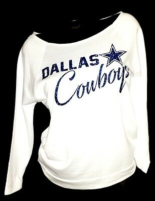 Dallas Cowboys Scoop Neck White Raw Edge Terry Lt Wt.Jersey 3/4 Slv. Top.