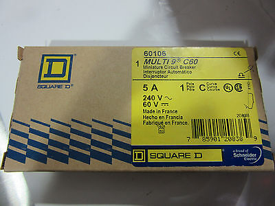 Square D 60106 Circuit Breaker 1P 5A 240V Multi9 C60 NEW!!! in Box Free Shipping