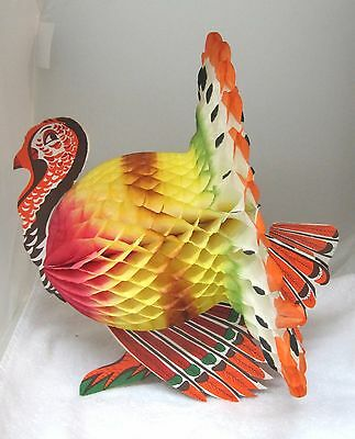 Vintage Honeycomb Thanksgiving Turkey Made in Japan Table Centerpiece