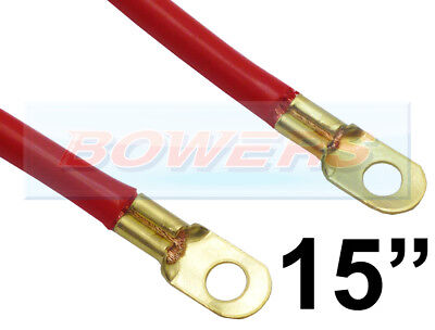 "15"" INCH 375mm CAR BATTERY RED POSITIVE STARTER LEAD CABLE WIRE STRAP"
