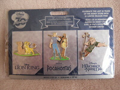 Disney Store 30th Anniversary Week 3 Pin Pack - Lion King Pocahontas Hunchback