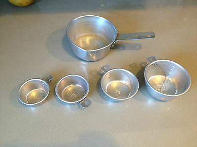 Vintage Aluminum Measuring Cups and  small Sauce Pan