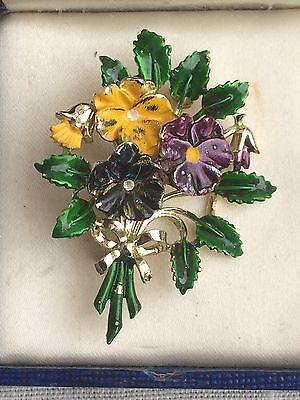 Beautiful Vintage EXQUISITE Small Pansy Flower Birthday Brooch May