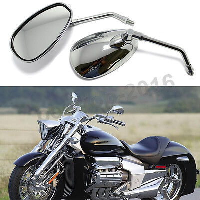 10Mm Chrome Motorcycle Rear View Mirrors For Chopper Cruiser Street Bike Scooter