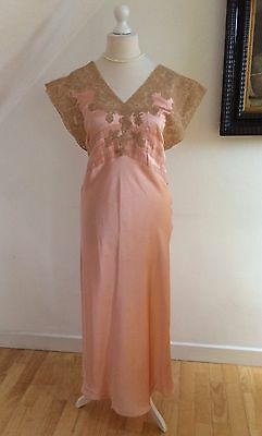 Vintage 1930s Rose Silk Nightgown Robe Unique Negligee Coffee Chantilly Lace