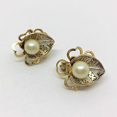 Vintage 1960's Gold Tone Spanish Damascene and Pearl Clip On Earrings