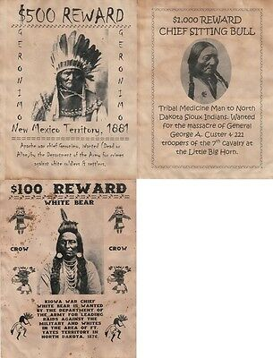 3 Old West Wanted Posters Sitting Bull Geronimo Western Indian