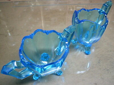 Sugar and Creamer vintage aqua blue depression glass scalloped and footed