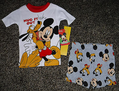 NWT Toddler Boys Short Sleeve Two Piece Mickey Mouse Shorts Pajama Set Size 3T