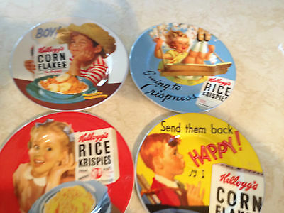 "Set Of 4 Kellogg's 8.25"" Advertising Plates Vintage Reproduction"