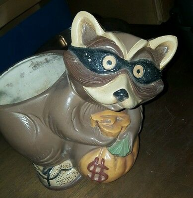 Raccoon Animal Robber Flower Pot Planter Figure Garden