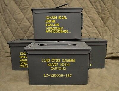4 PACK 50 Cal M2A1 AMMO CAN COMPLETELY REFURBISHED GREAT CONDITION FREE SHIPPING