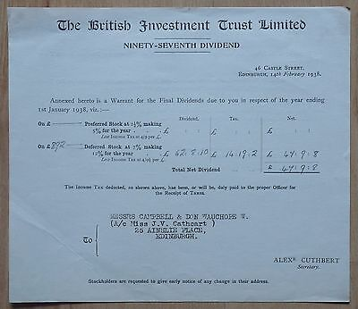 The British Investment Trust Limited dividend certificate. 1938
