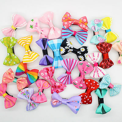 10pcs Assorted Hair Clips Snaps Ribbon Bow Girls Kids Baby Handmade Wholesale