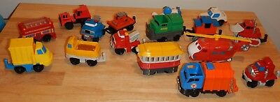 GeoTrax Police Car Ambulance Fire Trolley Bus Construction Truck Vehicles Lot