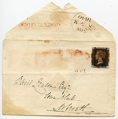 1840 1d black Plate 1a lettered MI on cover KIRKINTULLOCH to Arbroath