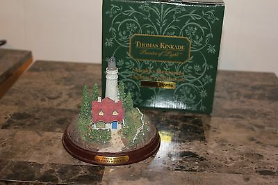 """Thomas Kinkade Clearing Storms Lighted Lighthouse Figurine Box 4-1/2"""" tall mint"""