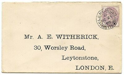 1896 cover with scarce 1d Postal Fiscal F20 Helensburgh to London
