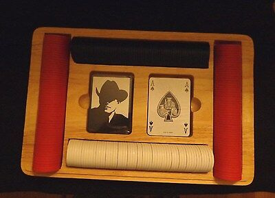 Marlboro Cards And Poker Chip Set In Solid Oak Case