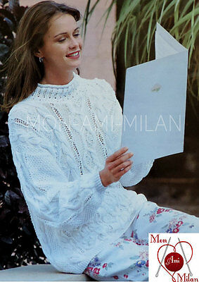 Vintage Knitting Pattern LADIES WOMENS BEAUTIFUL CABLE SWEATER JUMPER TOP - PDF