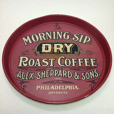 Vintage Serving Tray Morning Sip Dry Roast Coffee Round Metal ~ Sheppard & Sons