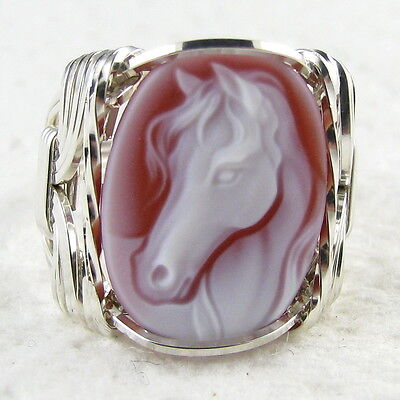 Horse Red Agate Oval Stone Cameo Ring .925 Sterling Silver Jewelry Any Size