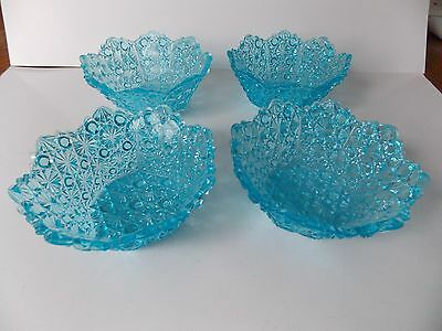 4 Early American Pattern Glass (EAPG) Blue Daisy & Buttons 8 Panel Berry Bowls