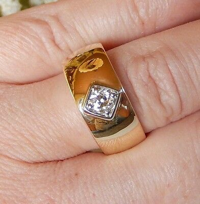 9,18 Gramm , 585 Goldring , Brillant - 0,30 ct !!! Damen , Ring , massiv !!!!