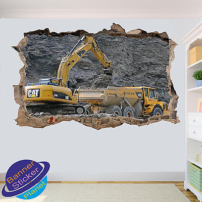 Excavator And Load Truck Mine 3D Smashed Wall Sticker Room Decor Decal Mural Yf2