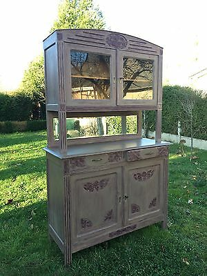 Antique Vintage French Carved Oak Sideboard Buffet Painted Farmhouse Dresser