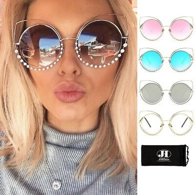 Designer Large RhinestonesCat Eye Flat Mirrored Retro Women Fashion Sunglasses