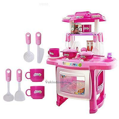 Kitchen Cooking Electronic Toy Kids Pretend Play with Lights/ Sound Effect Pink